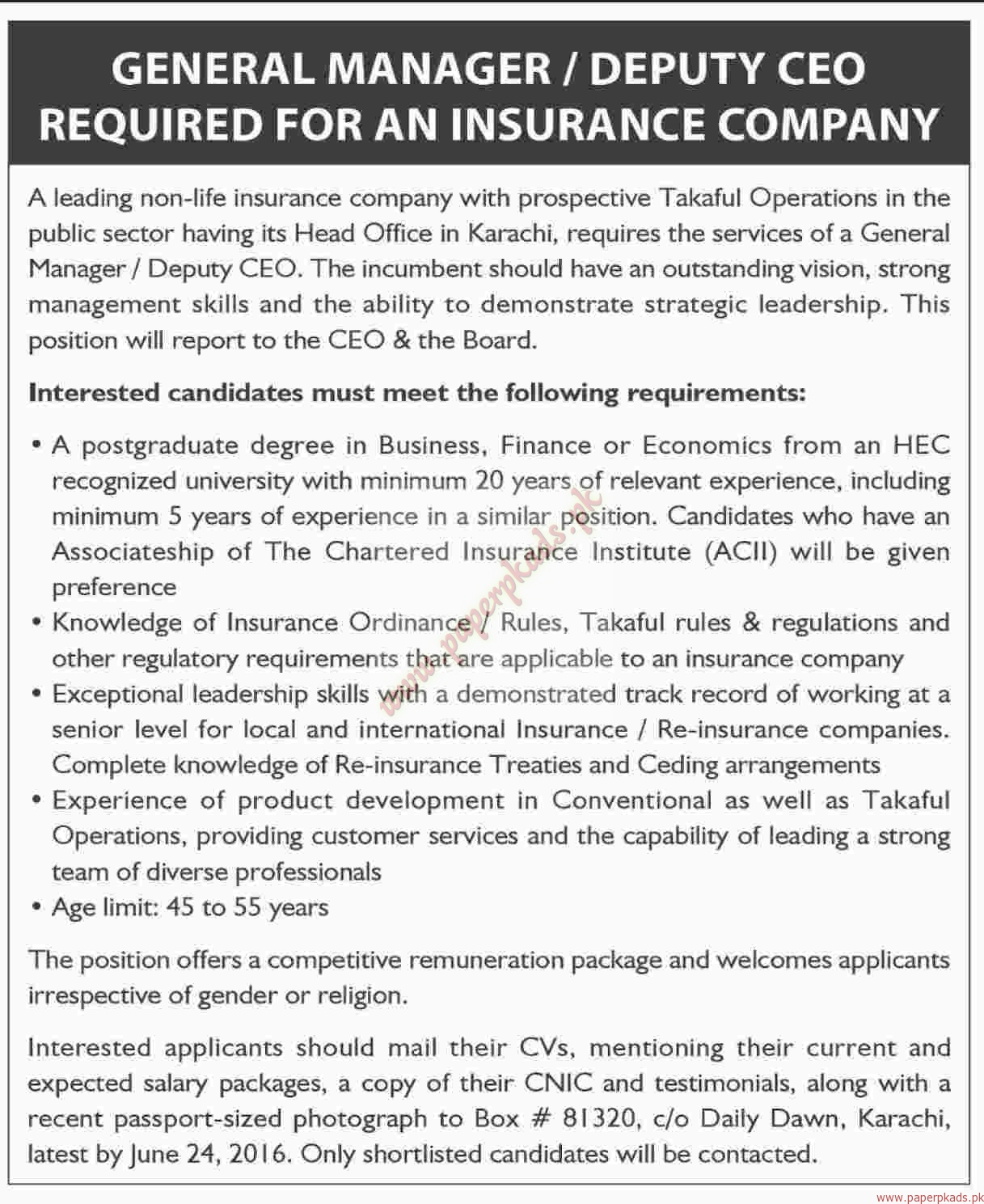 General Managers, Deputy CEO and Other Jobs - Dawn Jobs ads 12 ...