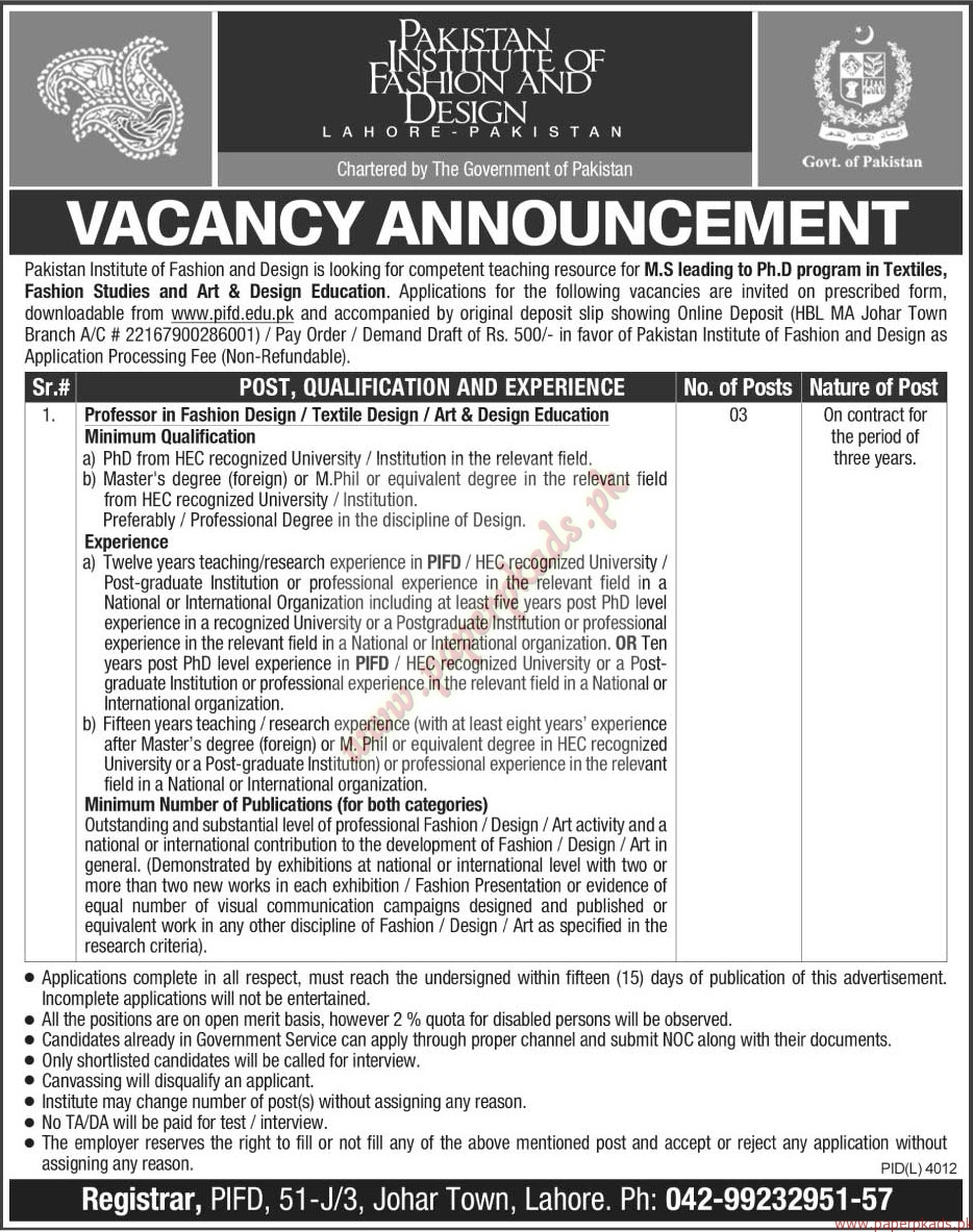Pakistan Institute Of Fashion Design Jobs The News Jobs Ads 19 June 2016