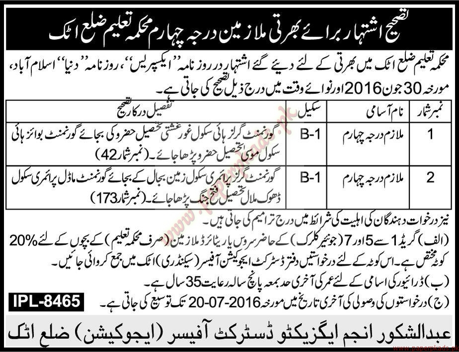 Education Department Attock Jobs - Express Jobs ads 16 July 2016 ...