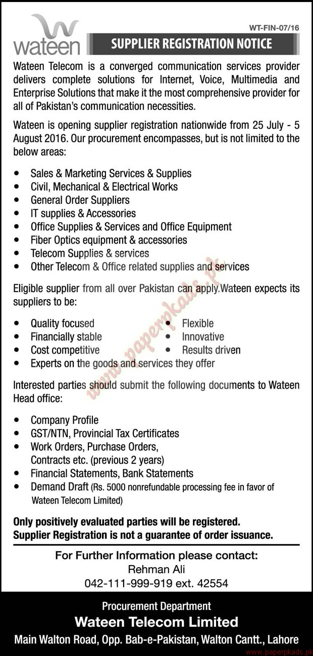 jobs in wateen telecom the nation jobs ads paperpk jobs in wateen telecom the nation jobs ads 24 2016