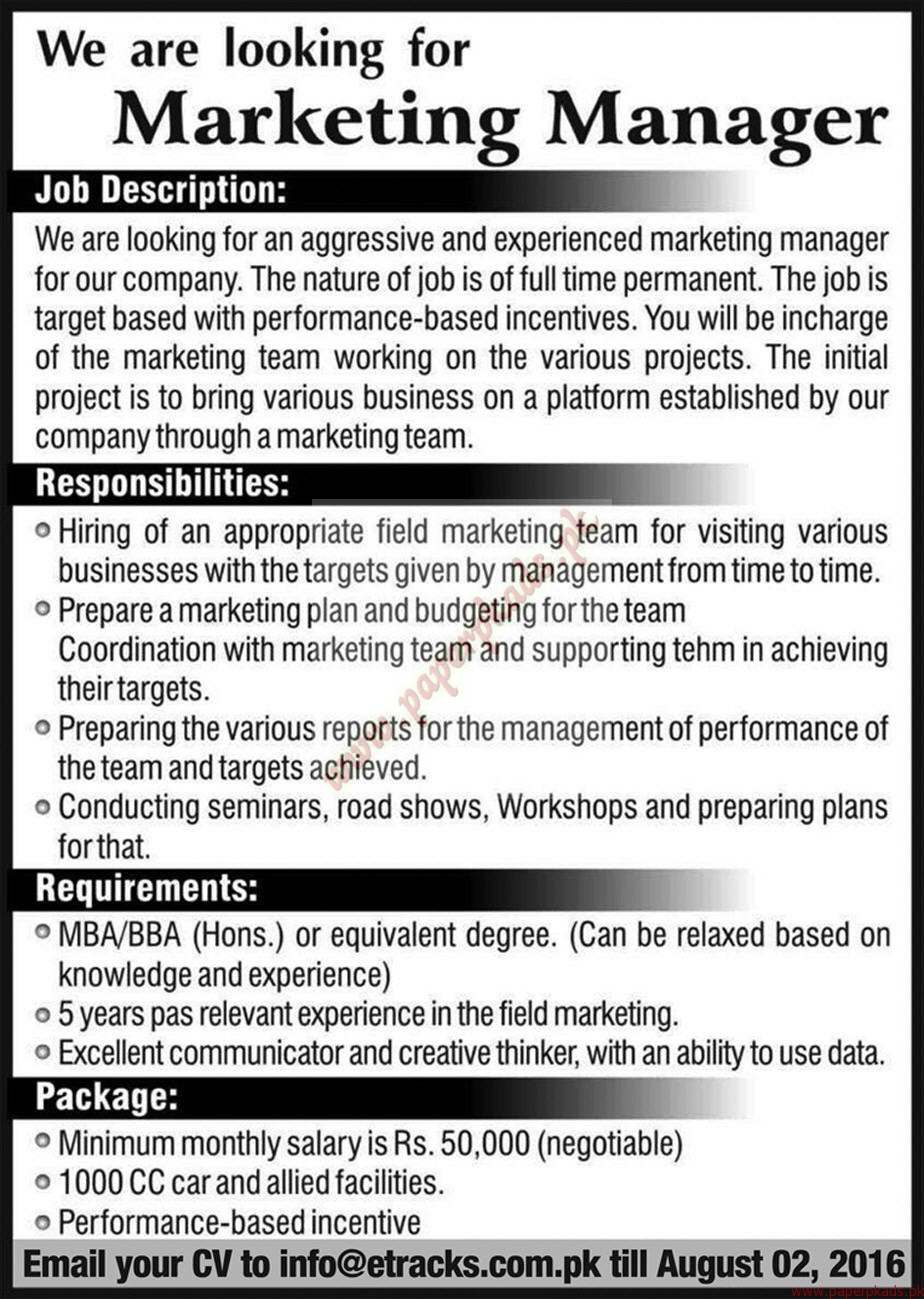 marketing managers required express jobs ads 22 july 2016 paperpk. Black Bedroom Furniture Sets. Home Design Ideas