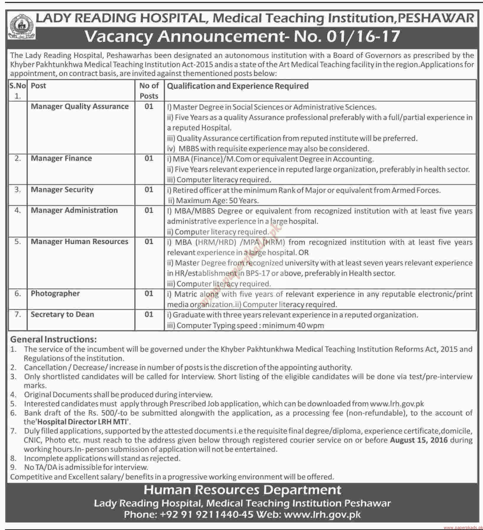 The Lady Reading Hospital Jobs - Dawn Jobs ads 28 July 2016 - Paperpk