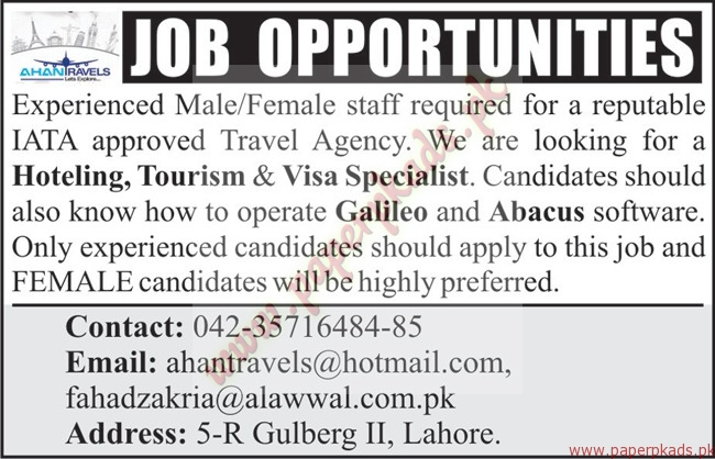 Travel Agency Jobs  Nawaiwaqt Jobs Ads  July   Paperpk