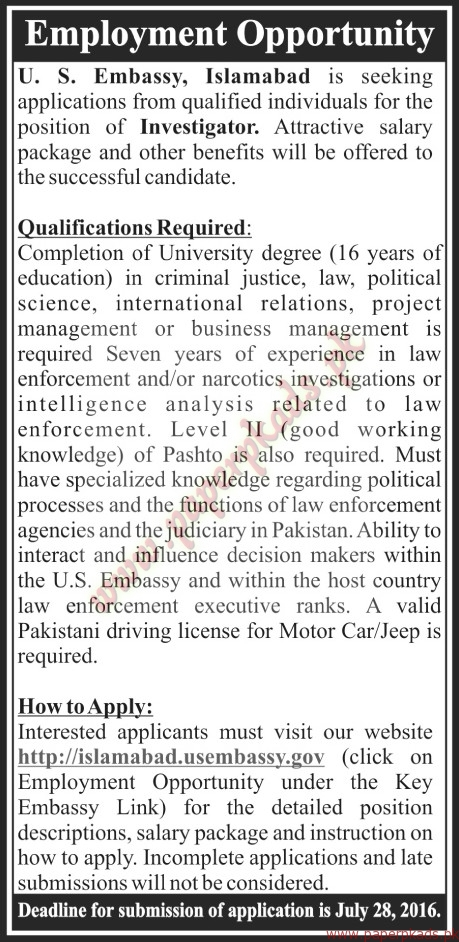 Us embassy islamabad jobs the news jobs ads 17 july 2016 for Consulate jobs