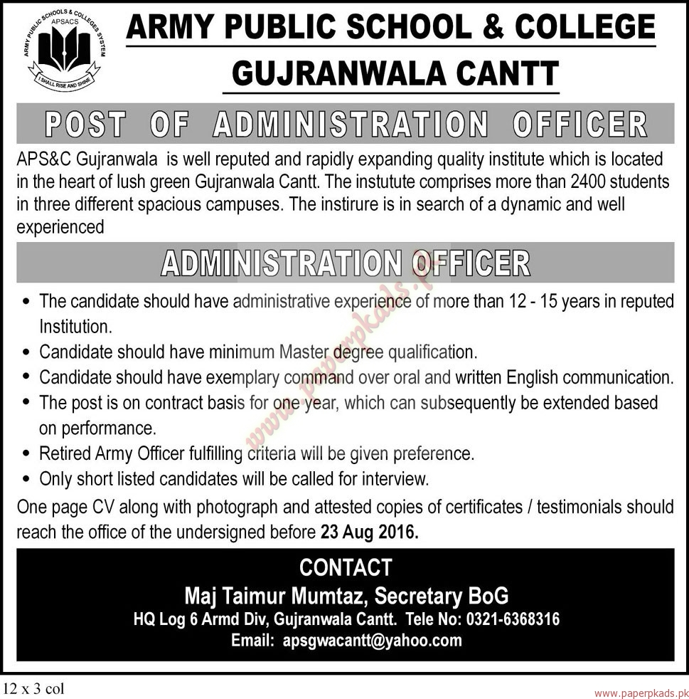 Army Public School & College Gujranwala Cantt Jobs - The Nation Jobs ...