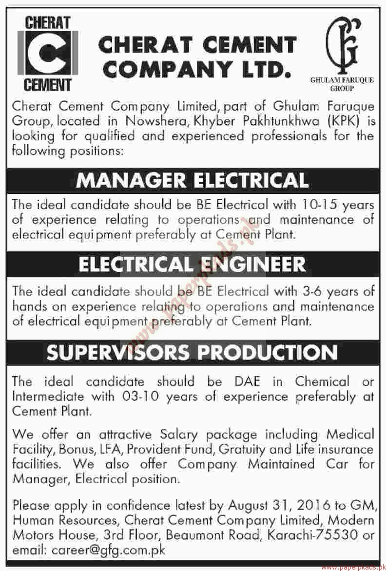 Cherat Cement Company Ltd Jobs Dawn Jobs Ads 21 August