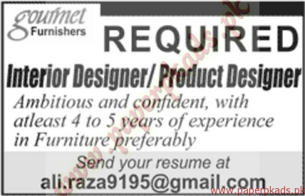Interior Designer And Product Designers Required Jang Jobs Ads 07 August 2016 Paperpk