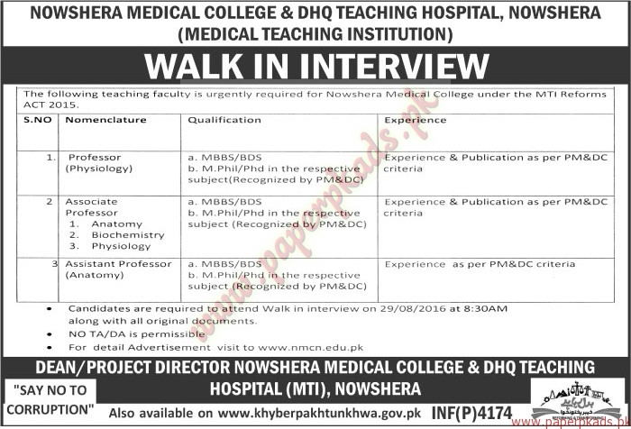 Nowshera Medical College & DHQ Teaching Hospital Jobs - The News ...