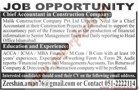 Chief accountant in construction company jobs the news jobs ads 25 chief accountant in construction company jobs the news yelopaper Image collections