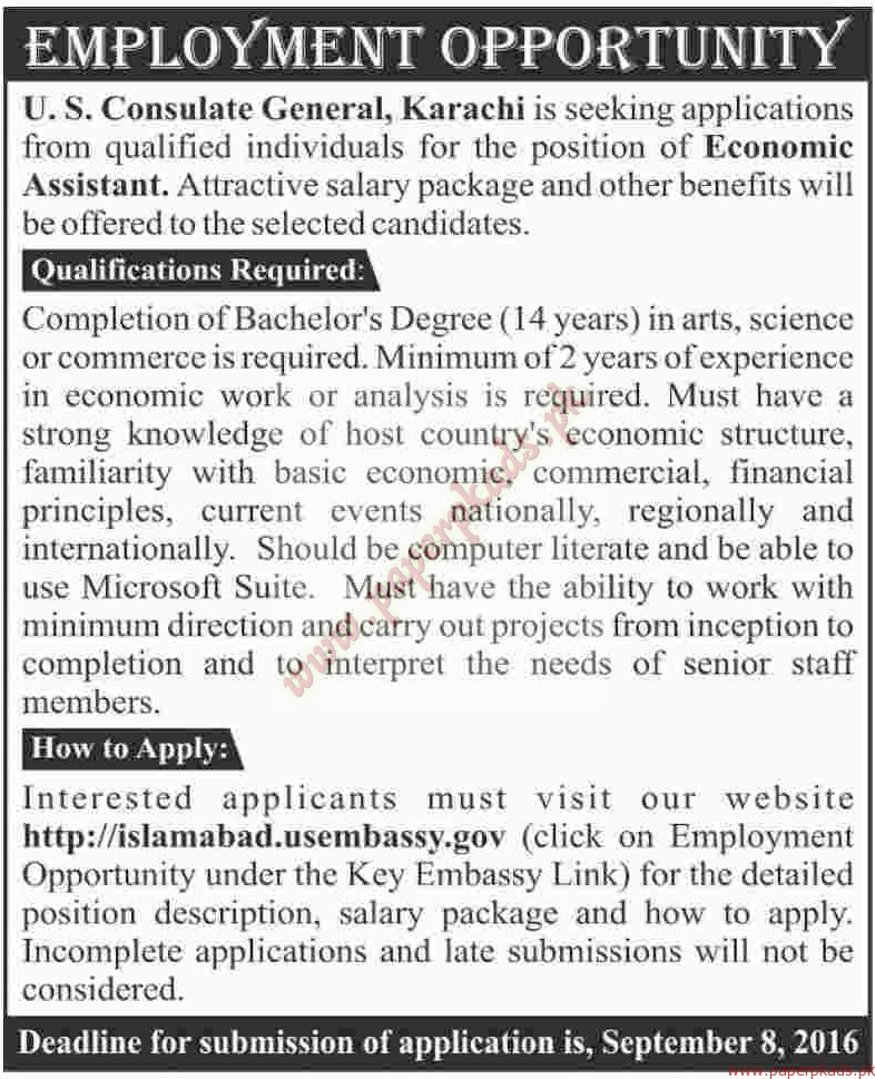 Us consulate general karachi jobs dawn jobs ads 04 for Consulate jobs