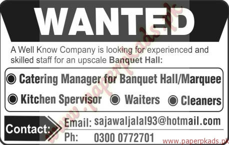 Catering Manager Kitchen Supervisor Waiters And Cleaners Jobs The News Jobs Ads 06 October
