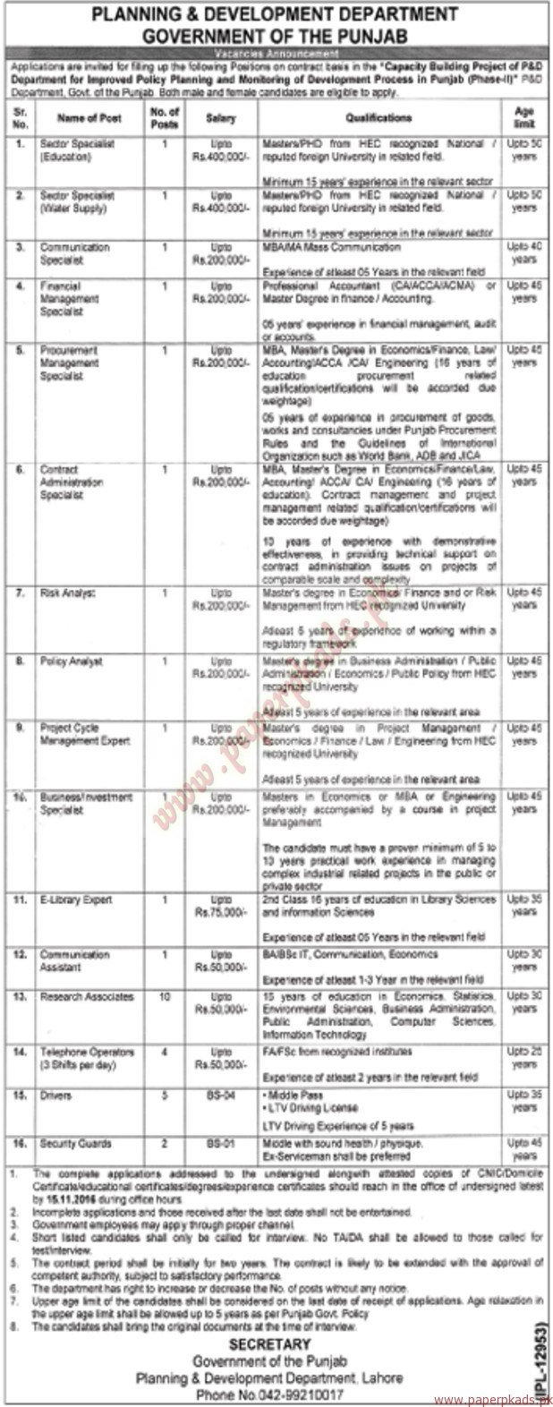 Government Of The Punjab Planning Development Department Jobs Fuse Box Ads