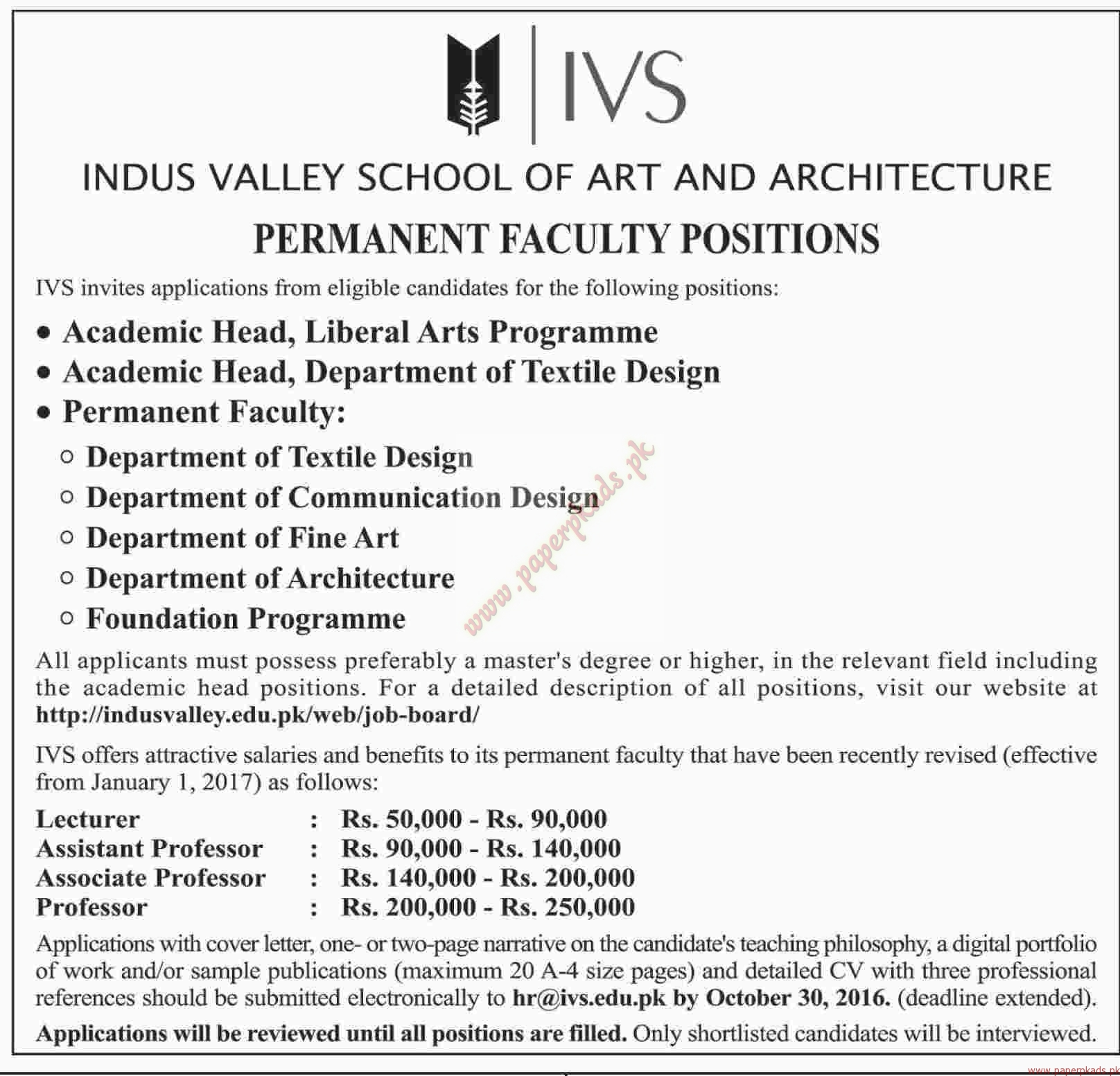 indus valley school of art and architecture jobs dawn jobs ads indus valley school of art and architecture jobs