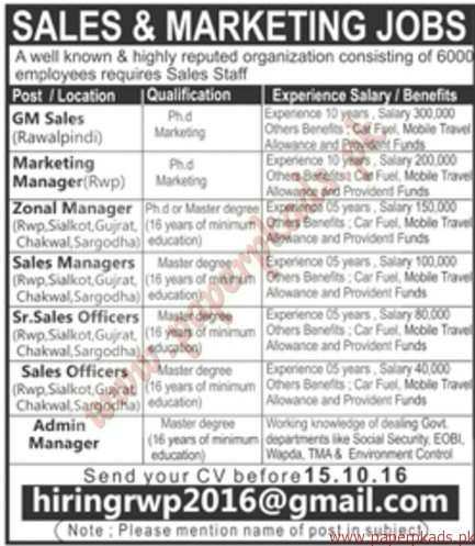 Sales  Marketing Jobs  Jang Jobs Ads  October   Paperpk