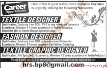 Textile Designer Fashion Designer And Textile Graphic Designers Jobs Jang Jobs Ads 30 October 2016