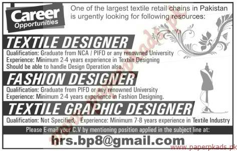 Textile Designer Fashion Designers And Textile Graphic Designers Jobs The News Jobs Ads 30 October 2016