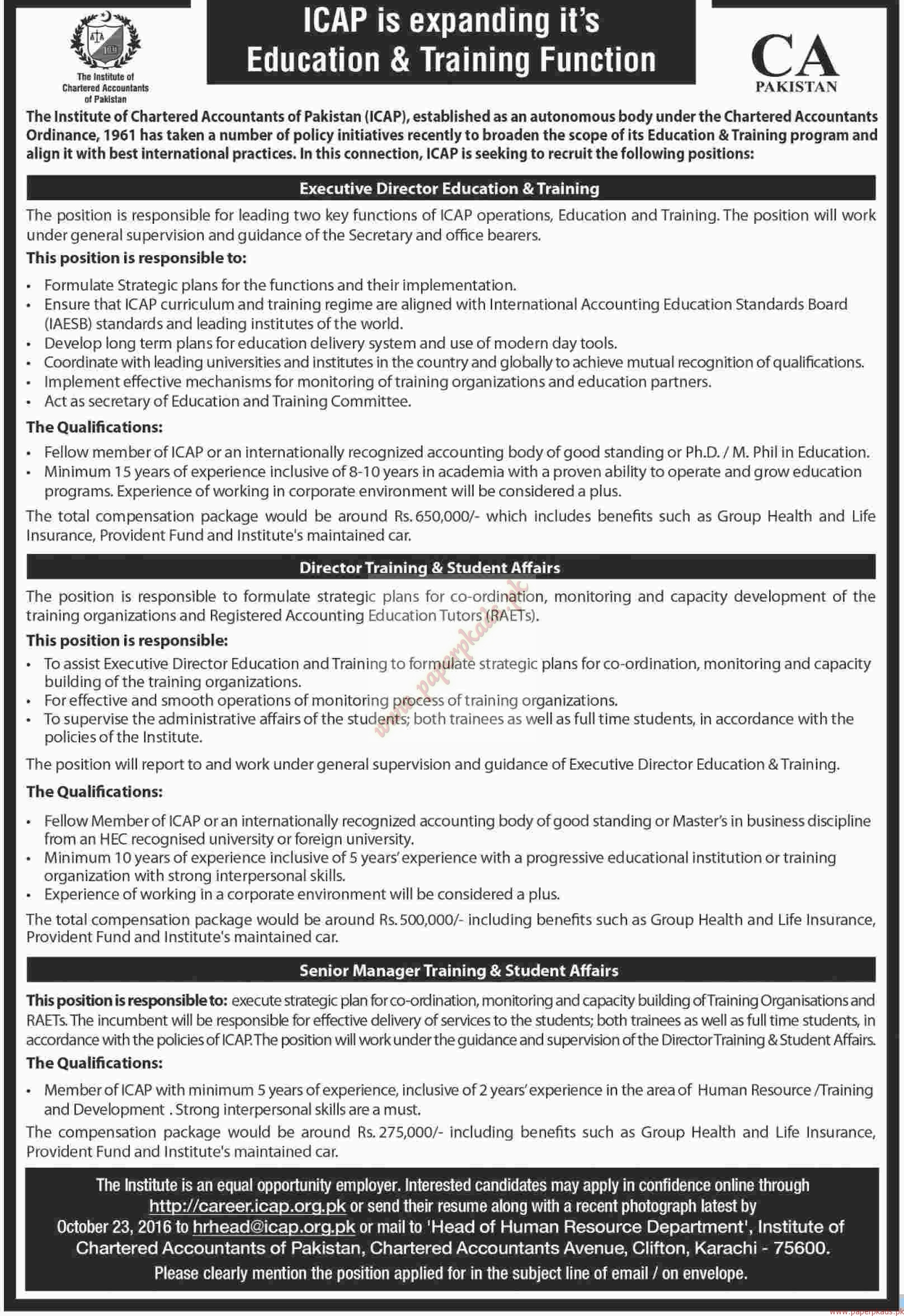 The Institute of Chartered Accountant Jobs - Dawn Jobs ads 09 ...