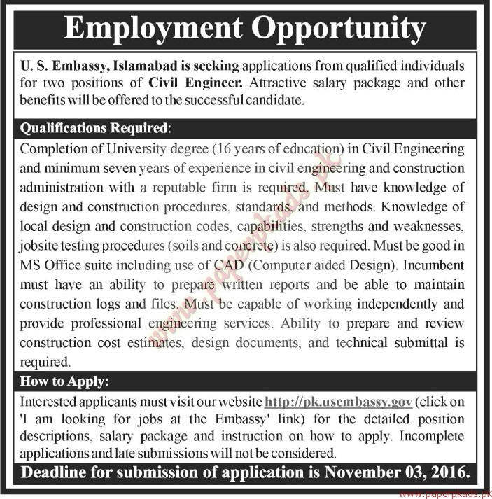 Us embassy islamabad jobs the news jobs ads 23 october for Consulate jobs