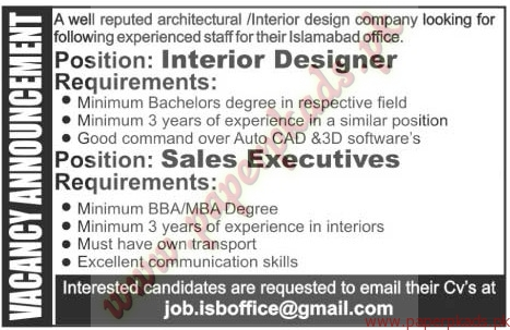 Interior Designers And Sales Executives Jobs The News Jobs Ads 13 November 2016 Paperpk
