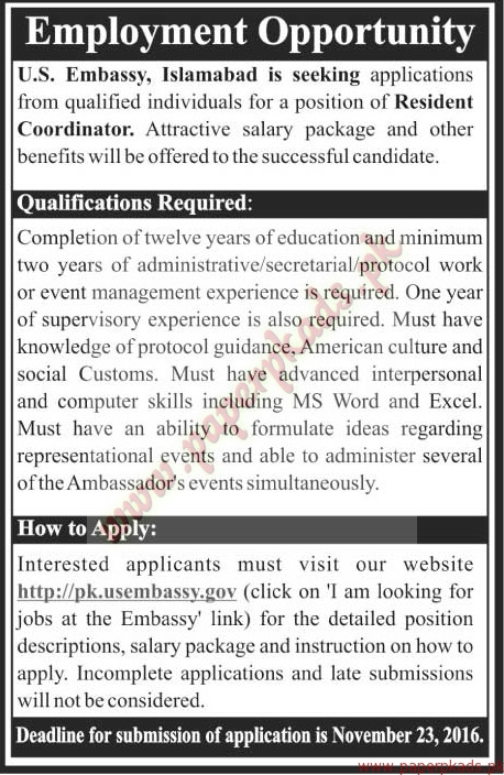 Jobs in us embassy the news jobs ads 13 november 2016 for Consulate jobs