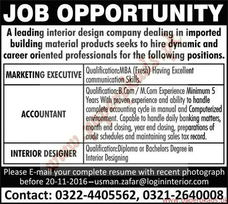 Marketing Executive Accountant And Interior Designers Jobs Express Jobs Ads 13 November 2016