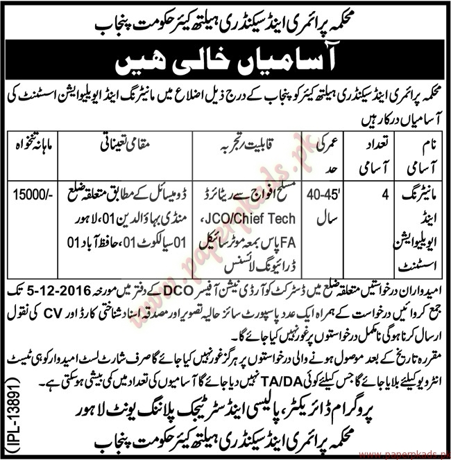 Primary & Secondary Health Care Department Jobs ...