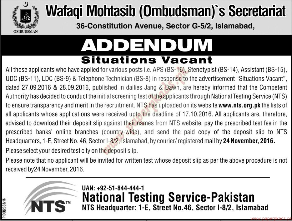 wafaqi-mohtasib-ombudsmans-secretariat-jobs-jang-jobs-ads-13-november-2016
