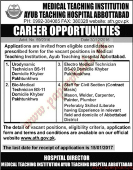 Ayub Teaching Hospital Jobs - Jang Jobs ads 31 December 2016