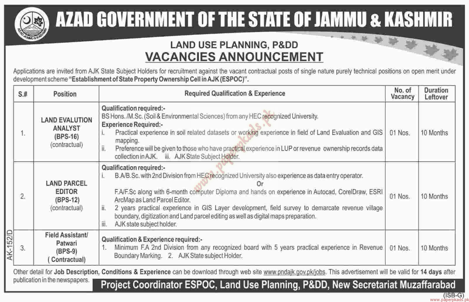 Azad Government of the State of Jammu & Kashmir Jobs - Dawn Jobs ads 31 December 2016