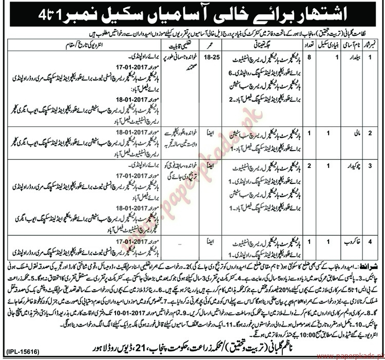 Beldar, Gardners, Chowkidar and Other Jobs - Nawaiwaqt Jobs ads 30 December 2016