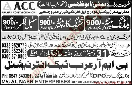 Building Painters, Shuttring Carpainters, Steel Fixers Jobs in Abu Dhabi - Express Jobs ads 30 December 2016