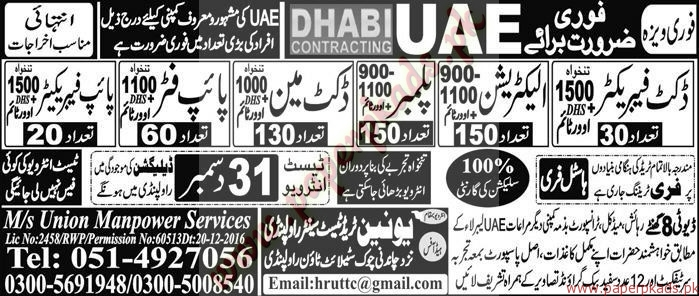 Duct Fabricators, Electricians, Plumbers and Other Jobs in UAE - Express Jobs ads 30 December 2016