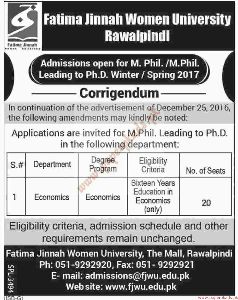 Fatimah Jinnah Women University Jobs - Dawn Jobs ads 30 December 2016