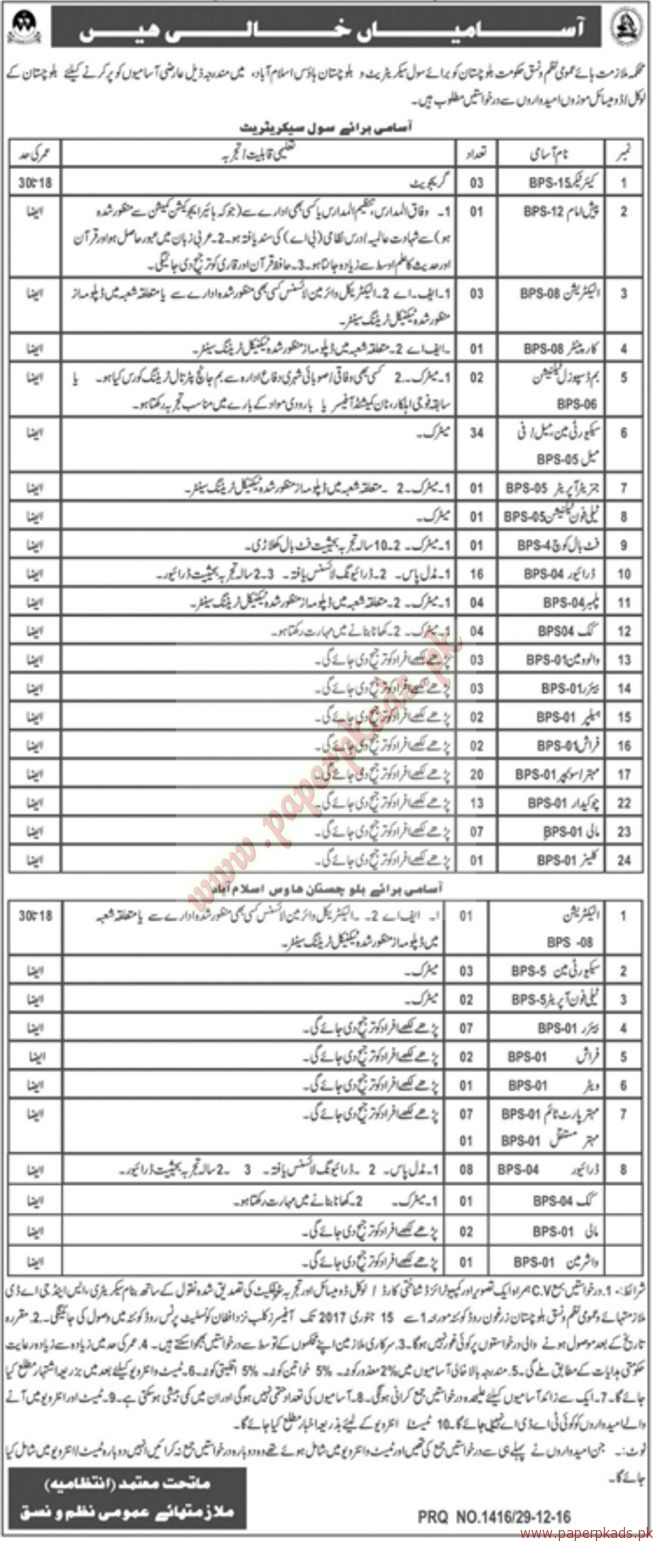 Jobs in Civil Secretariat - Jang Jobs ads 31 December 2016