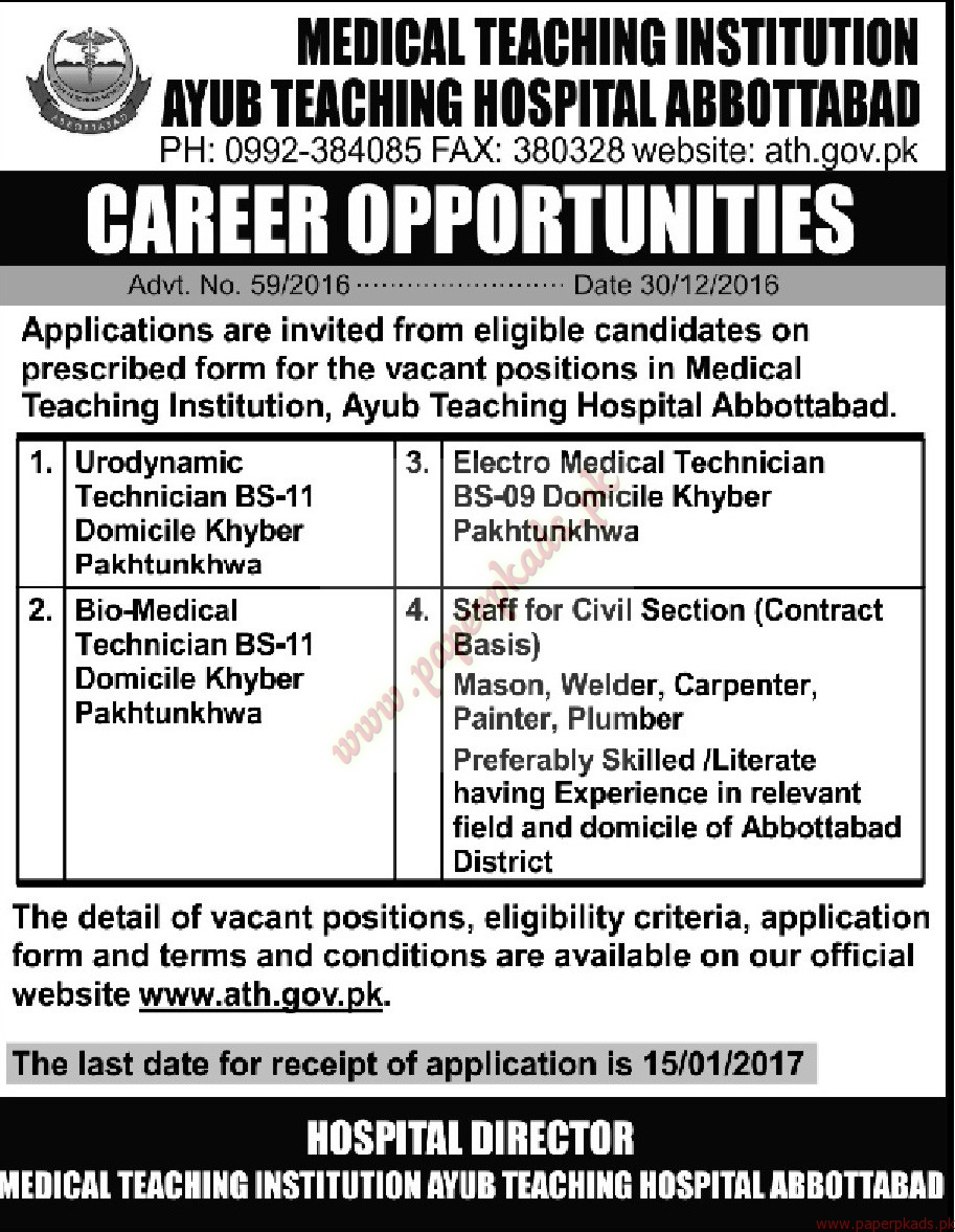 Medical Teaching Institution Jobs - Mashriq Jobs ads 31 December 2016