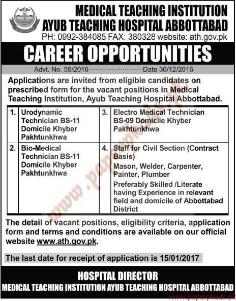 Medical Teaching Institution ayub Teaching Hospital Jobs - The News Jobs ads 31 December 2016