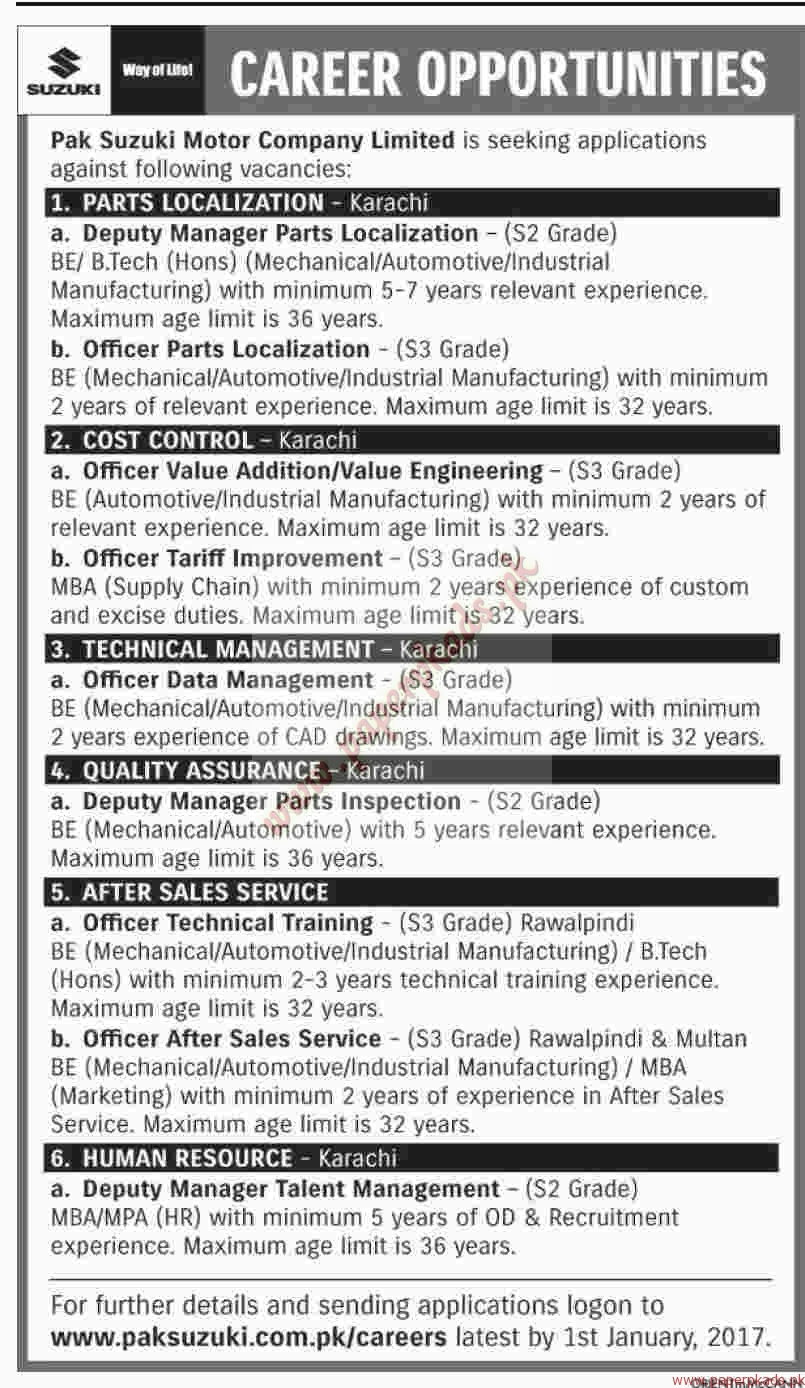 Pak Suzuki Motor Company Limited Jobs Dawn Jobs Ads 25