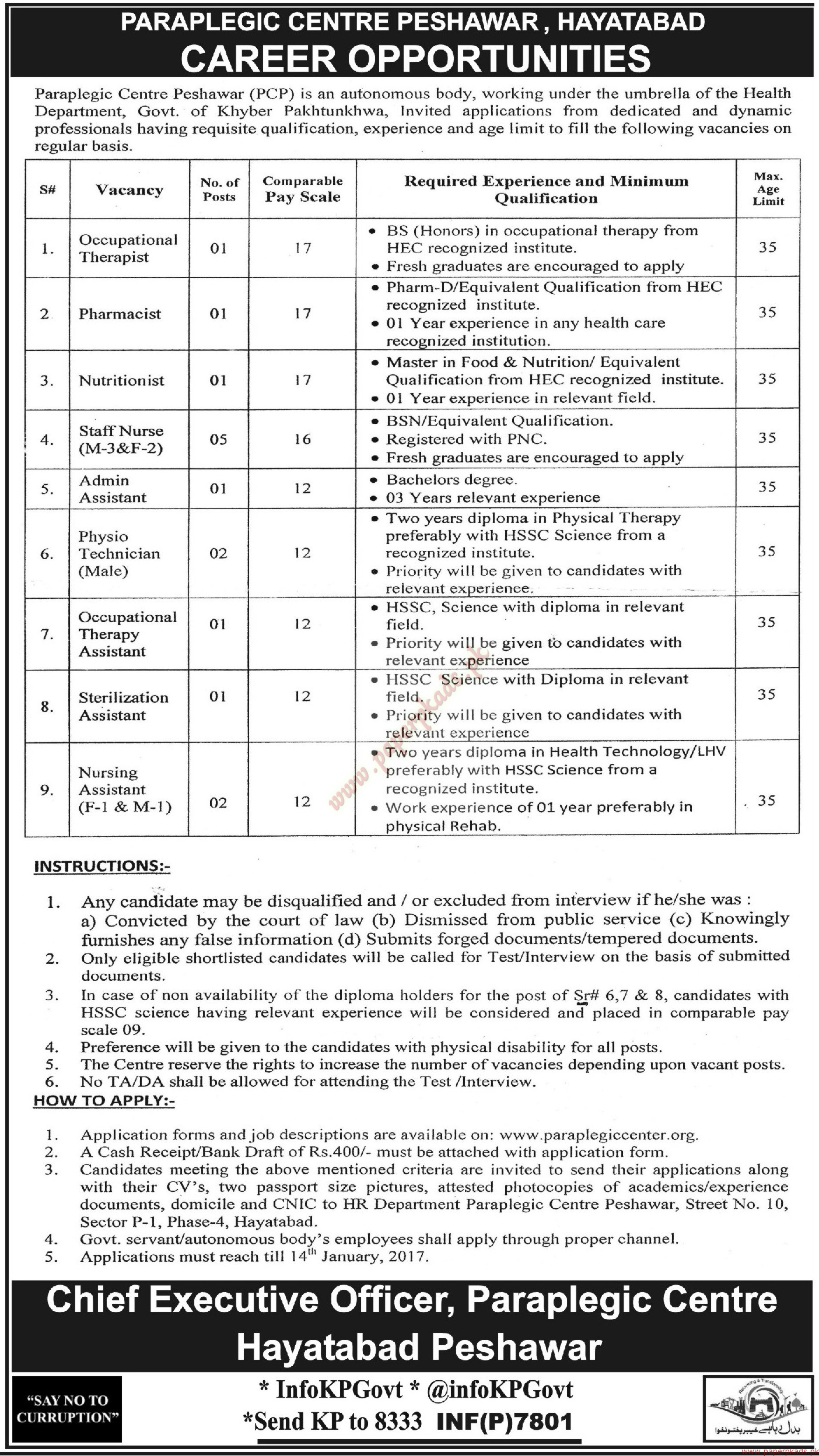 Paraplegic Centre Peshawar Jobs - Mashriq Jobs ads 31 December 2016