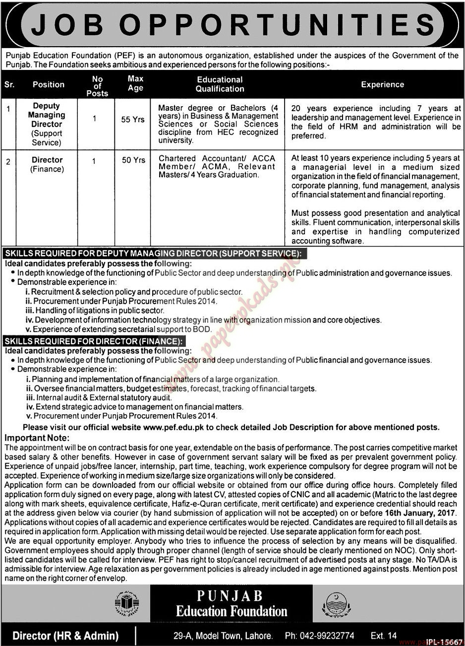 Punjab Education Foundation Jobs - Jang Jobs ads 31 December 2016