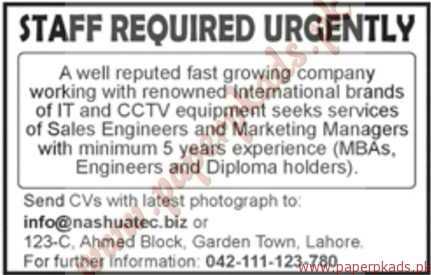 Sales Engineers and Marketing Managers Jobs - Jang Jobs ads 30 December 2016