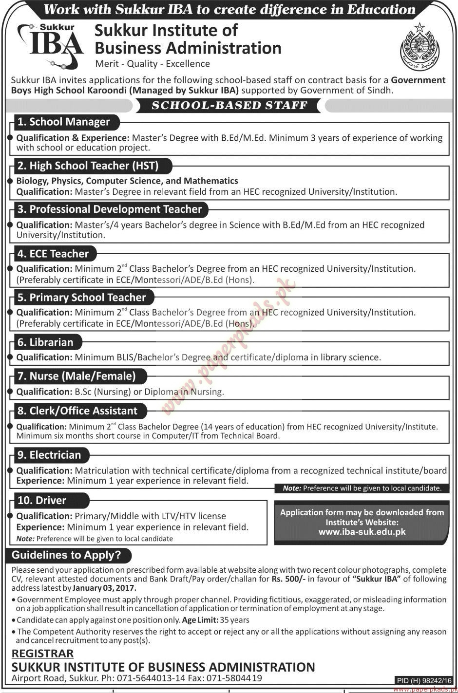 sukkur institute of business administration jobs jang jobs ads sukkur institute of business administration jobs 1 jang jobs ads 18 2016