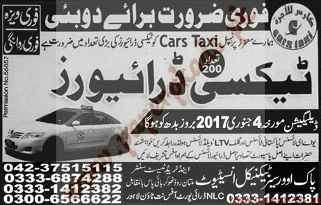 Taxi Drivers Jobs in Dubai - Express Jobs ads 30 December 2016