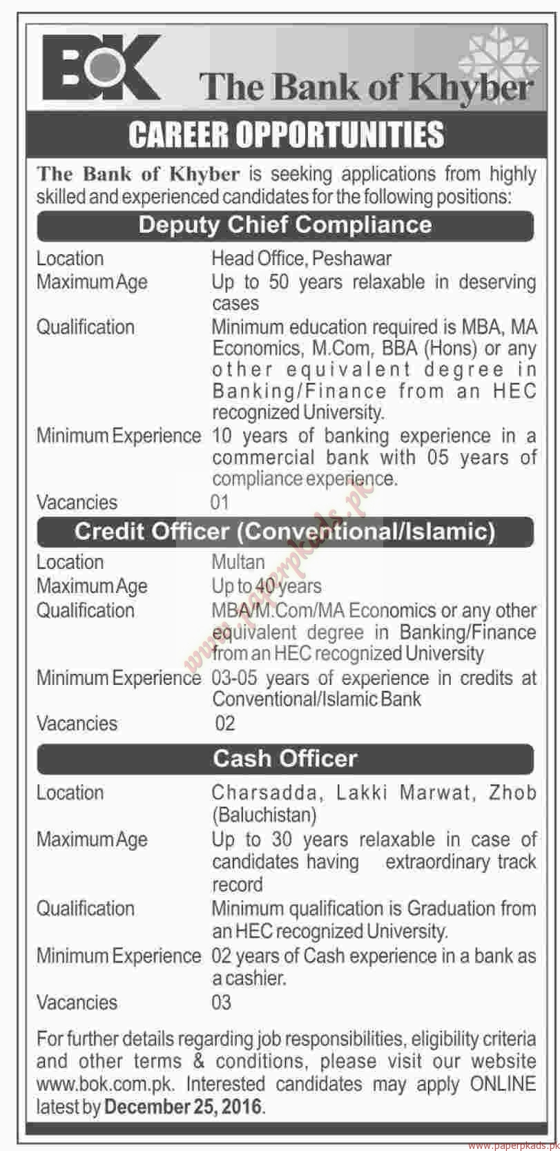 The bank of khyber jobs dawn jobs ads 11 december 2016 paperpk - Role of compliance officer in bank ...