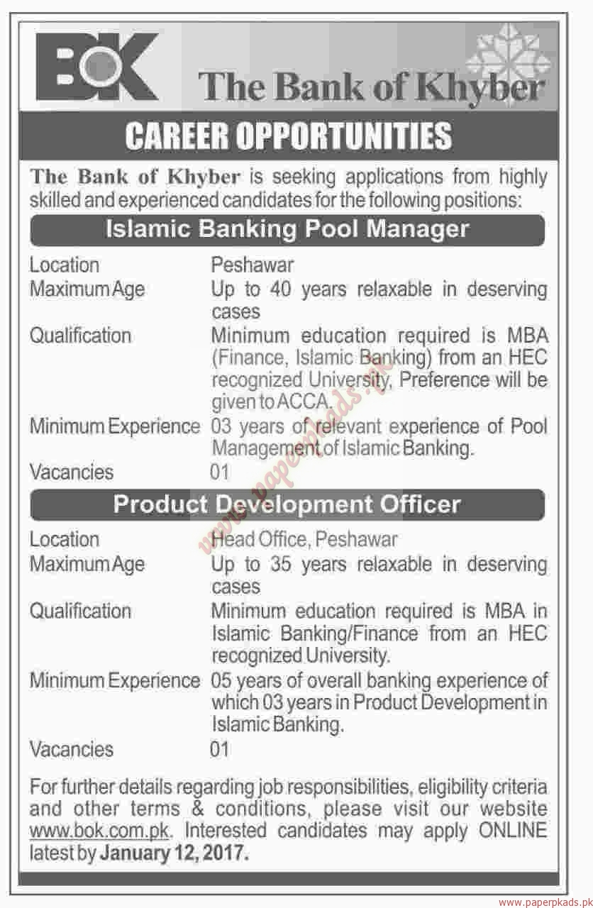 The Bank of Khyber Jobs - Dawn Jobs ads 30 December 2016