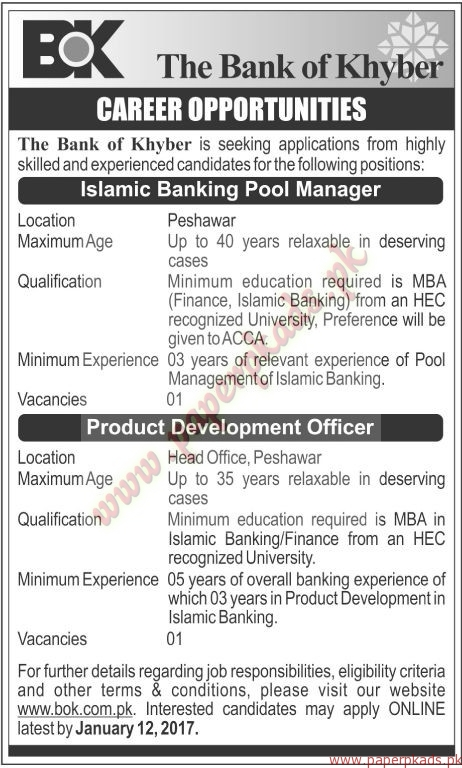 The Bank of Khyber Jobs - The News Jobs ads 30 December 2016