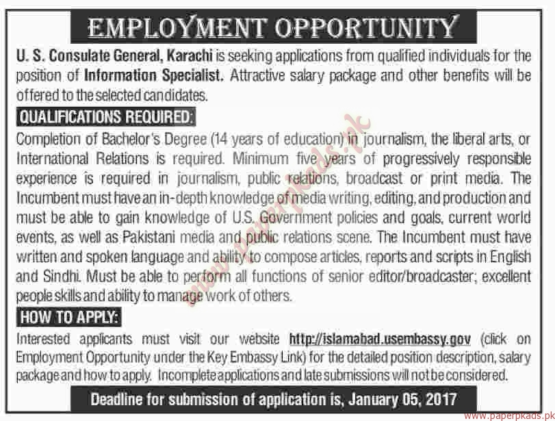 Us consulate general karachi jobs dawn jobs ads 25 for Consulate jobs