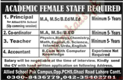 Academic Female Staff Required - Jang Jobs ads 01 January 2017
