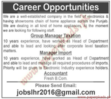 Accountant Group Manager Taxation & Manager Import Jobs