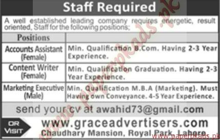Accounts Assistant Content Writer and Marketing Executive Jobs