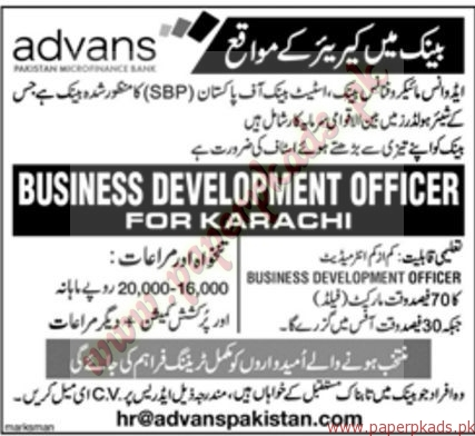 Advans Microfinance Bank Jobs - Jang Jobs ads 01 January 2017